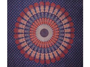 "Sanganeer Mandala Print Tapestry Cotton Bedspread 92"" x 82"" Full Blue"