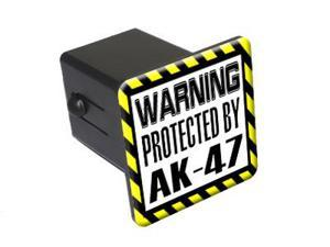 "Protected By AK-47 - 2"" Tow Trailer Hitch Cover Plug Insert"