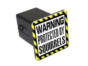 """Protected By Squirrels - 2"""" Tow Trailer Hitch Cover Plug Insert"""