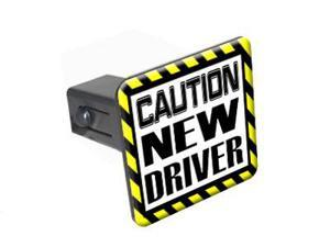"""Caution New Driver - 1.25"""" Tow Trailer Hitch Cover Plug Insert"""