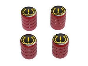 TPMS Tire Pressure Monitoring System Symbol - Tire Rim Valve Stem Caps - Red