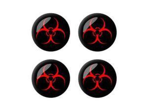 Biohazard Warning Symbol - Wheel Center Cap 3D Domed Set of 4 Stickers Badges