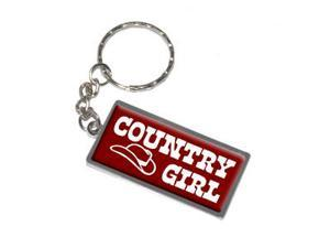 Country Girl With Cowboy Hat Keychain Key Chain Ring