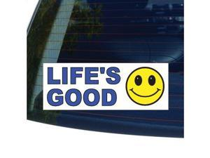 "LIFE'S GOOD - Smiley Face Sticker - 5.3"" (width) X 2"" (height)"