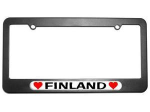 Finland Love with Hearts License Plate Tag Frame
