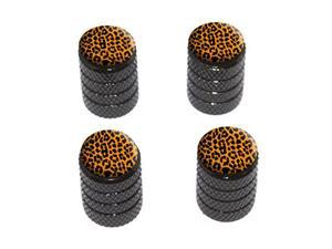 Leopard Print - Tire Rim Wheel Valve Stem Caps - Black