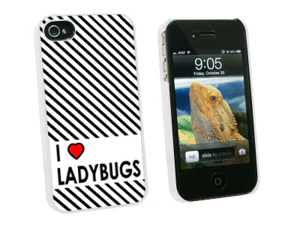 I Love Heart Ladybugs - Snap On Hard Protective Case for Apple iPhone 4 4S - White