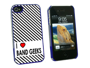I Love Heart Band Geeks - Snap On Hard Protective Case for Apple iPhone 4 4S - Blue