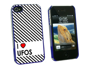 I Love Heart UFOs - Snap On Hard Protective Case for Apple iPhone 4 4S - Blue