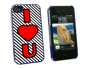 I Love You Big Red Heart Black Stripes - Snap On Hard Protective Case for Apple iPhone 4 4S - Blue