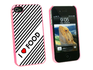 I Love Heart Food - Snap On Hard Protective Case for Apple iPhone 4 4S - Pink