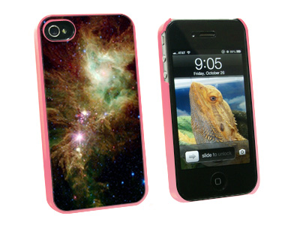 Christmas Tree Star Cluster - Nebula Galaxy Universe - Snap On Hard Protective Case for Apple iPhone 4 4S - Pink