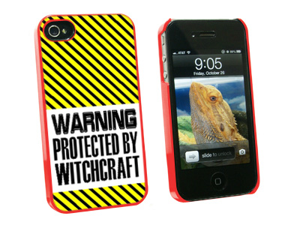 Warning Protected By Witchcraft - Snap On Hard Protective Case for Apple iPhone 4 4S - Red