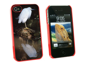 Snowy Cattle Egret - Bird - Snap On Hard Protective Case for Apple iPhone 4 4S - Red