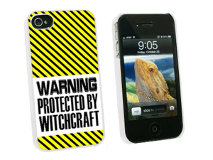 Warning Protected By Witchcraft - Snap On Hard Protective Case for Apple iPhone 4 4S - White