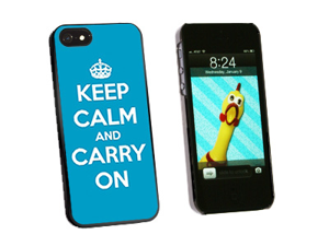 Keep Calm and Carry On Blue - Snap On Hard Protective Case for Apple iPhone 5 - Black