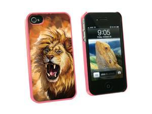 Fierce Lion Roar - Big Cat Africa - Snap On Hard Protective Case for Apple iPhone 4 4S - Pink