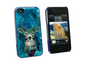 Deer Watercolor Blue - Hunting - Snap On Hard Protective Case for Apple iPhone 4 4S - Blue