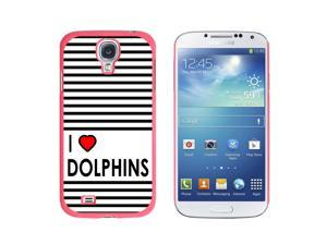 I Love Heart Dolphins - Snap On Hard Protective Case for Samsung Galaxy S4 - Pink