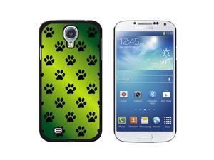 Paw Prints on Parade Green - Snap On Hard Protective Case for Samsung Galaxy S4 - Black