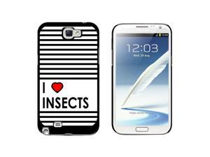 I Love Heart Insects - Snap On Hard Protective Case for Samsung Galaxy Note II 2 - Black