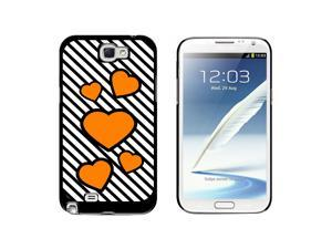 Love Cute Hearts Orange Black Stripes - Snap On Hard Protective Case for Samsung Galaxy Note II 2 - Black