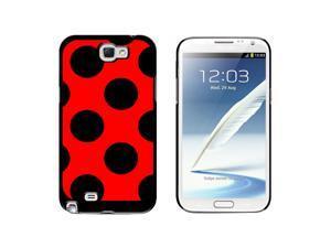 Mega Polka Dots Black Red - Snap On Hard Protective Case for Samsung Galaxy Note II 2 - Black