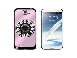 Pink Retro Rotary Phone - Funny - Snap On Hard Protective Case for Samsung Galaxy Note II 2 - Black