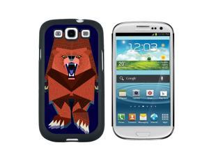 Roaring Bear Geometric Red - Snap On Hard Protective Case for Samsung Galaxy S3 - Black