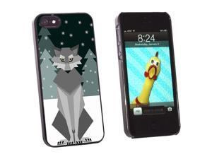 Geometric Winter Wolf - Snap On Hard Protective Case for Apple iPhone 5 - Black
