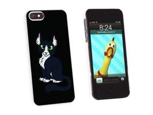 Black White Cat On Black - Snap On Hard Protective Case for Apple iPhone 5 - White