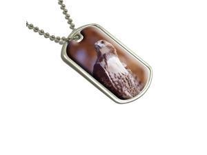 Hawk Raptor Military Dog Tag Keychain