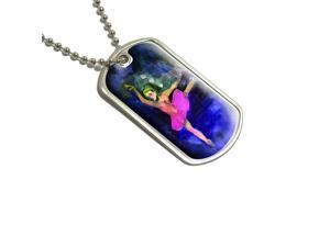 Ballet Dancer Pink Dark Blue - Ballerina Dance Dancing Military Dog Tag Keychain