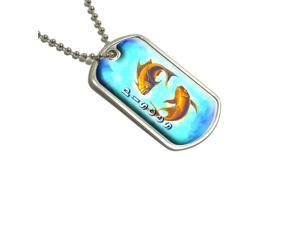 Pisces Gold Fish Zodiac - Astrological Sign Astrology Military Dog Tag Keychain
