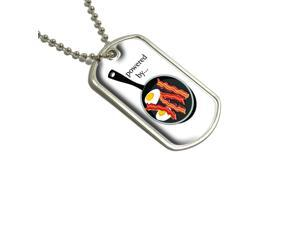 Bacon and Eggs Powered By White - Breakfast Military Dog Tag Keychain
