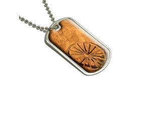 Western Wagon Wheel - Fort Union New Mexico Military Dog Tag Keychain