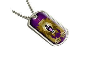 Geometric Lion Magenta Military Dog Tag Keychain
