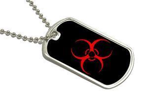 Biohazard Warning Symbol - Zombie Military Dog Tag Keychain