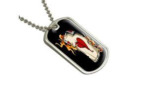 Ace of Hearts on Fire - Poker Gambling Military Dog Tag Keychain