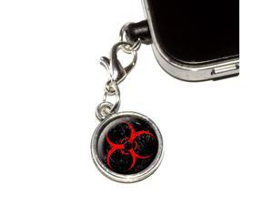 Biohazard Warning Symbol Red Zombies Distressed Universal Fit 3.5mm Earphone Headset Jack Charm Anti-Dust Plug fits Mobile Cell Phone iPhone iPod iPad Galaxy