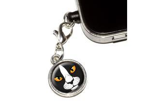 Black and White Cat Face - Pet Kitty Universal Fit 3.5mm Earphone Headset Jack Charm Anti-Dust Plug fits Mobile Cell Phone iPhone iPod iPad Galaxy