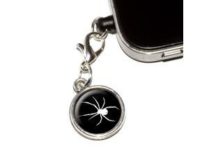 Spider - White on Black Universal Fit 3.5mm Earphone Headset Jack Charm Anti-Dust Plug fits Mobile Cell Phone iPhone iPod iPad Galaxy
