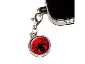 Spider Black on Red Universal Fit 3.5mm Earphone Headset Jack Charm Anti-Dust Plug fits Mobile Cell Phone iPhone iPod iPad Galaxy
