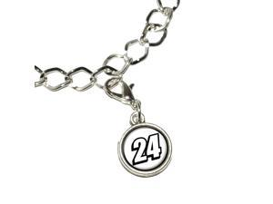 24 Number Twenty Four Silver Plated Bracelet with Antiqued Charm
