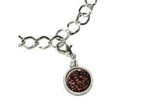 Coffee Beans Silver Plated Bracelet with Antiqued Charm