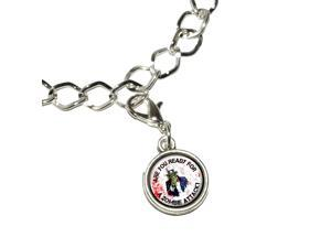 Are You Ready For A Zombie Attack - Uncle Sam Silver Plated Bracelet with Antiqued Charm