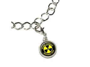 Zombie Outbreak Response Team - Radiation Symbol - Yellow on Black Silver Plated Bracelet with Antiqued Charm