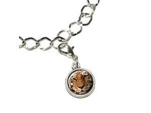 Bengal Tiger Face Silver Plated Bracelet with Antiqued Charm
