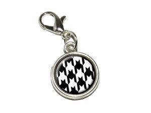 Preppy Houndstooth White Black Antiqued Bracelet Pendant Zipper Pull Charm with Lobster Clasp