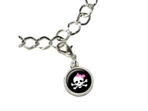 Skulls and Crossbones Daughter Stick Figure Family - Girl Silver Plated Bracelet with Antiqued Charm